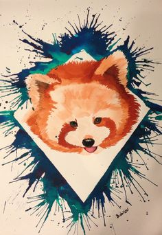 My first red panda watercolor painting!