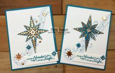Star of Light Stampin' Up! Christmas cards featuring copper paper and metallic enamel shapes by Patty Bennett. click shop online at www.PattyStamps.com