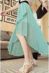 Irregular chiffon high-waist skirt - US$ 15.22