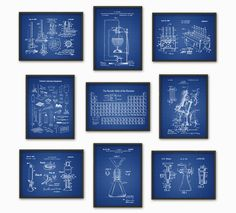 Science Patent Prints Set of 9 Chemistry Wall by QuantumPrints