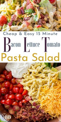 This 15 min bacon lettuce tomato pasta salad is the perfect quick summer pasta salad for parties or an easy quick dinner. It's one of the easiest bacon for a meal recipes and is even pretty healthy. for parties BLT Pasta Salad Tomato Pasta Salad, Pasta Salat, Blt Pasta Salads, Summer Pasta Salad, Easy Pasta Salad, Party Salads, Pasta Salad With Avocado, Bacon Tomato Pasta, Blt Macaroni Salad
