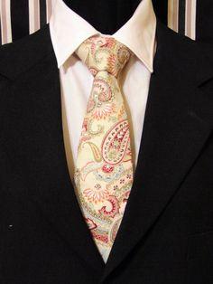 Paisley Necktie, Paisley Tie, Mens Necktie, Mens Tie, Beige Necktie, Beige Tie, Red Green Necktie, Red Green Tie, Pink Green Necktie, Gift by EdsNeckties on Etsy