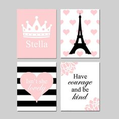 Paris Wall Art Paris Bedroom Decor Girl Bedroom Art Paris Bedroom Art Girl Room Decor Eiffel Tower Wall Art Heart Room Decor Girl Wall Art This is a collection of four original girl bedroom wall art prints that can be hung together in a quad format (shown) or hung separately. Personalized