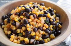 If you desire a light yet filling lunch, dinner or side dish, try this corn and black bean salad recipe! I'd use fresh uncooked corn on cob! Black Bean Salad Recipe, Black Bean Recipes, Bean Salad Recipes, Recipes With Black Beans And Corn, Corn And Bean Salad, Soup And Salad, Vegetarian Recipes, Cooking Recipes, Side Dish Recipes