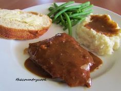 Crockpot Cube Steak with Gravy - 1 ½-2 pounds Cube Steak  1 package Brown Gravy Mix  1 package of Au Jus mix  1 Can Cream of Chicken Soup (or Cream of Mushroom Soup)  1 Can French Onion Soup