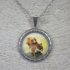 Color printed Squirrel Natural Shell Silver Edged Alloy Necklace N1705 0092 #ZL #Necklace