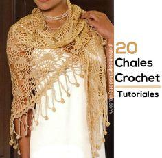 Crochet y Dos agujas: Chales Triangulares para tejer a crochet / 20 tuto...