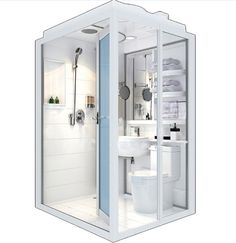 Whole Produce Durable Prefabricated Bathrooms Pods Tiny House Bathroom, Steam Showers Bathroom, Simple Bathroom, Small Bathrooms, Bathroom Fixtures, Glass Bathroom, Kitchen And Bath, Mini Kitchen, Basement Renovations