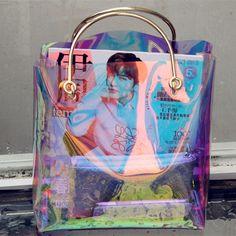 transparent hologram bag clear beach bag pvc plastic bag women summer 2017 new high quality candey color Clear Beach Bag, O Bag, Pouch Bag, Diy Sac, Transparent Bag, What's In Your Bag, Clear Bags, Pvc, Cute Bags