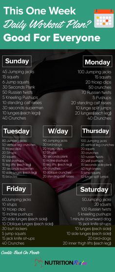 Workout Plan one week workout plan More - Take this one Week daily Workout plan and make the most of your exercise mostly at home or at Work. Great for men and Women to get fit. One Week Workout, Workout Challenge, Workout Ideas, One Week Abs, Saturday Workout, Sport Fitness, Fitness Tips, Fitness Motivation, Fitness Plan