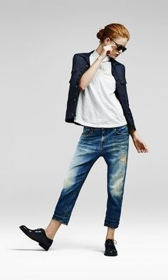 Women's Navy Denim Jacket, White Polo, Blue Ripped Boyfriend Jeans, Black Leather Oxford Shoes