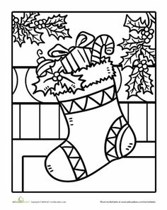Worksheets: Christmas Stocking Coloring Page