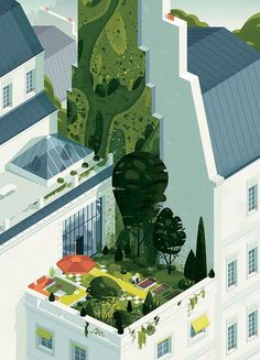 Creation of a cover illustration about green cities for the summer issue of ParisWorldwide magazine. July 2016.