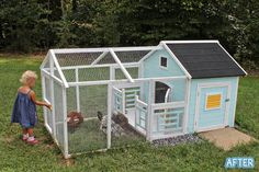 chicken coop from a dog house - just in case we ever move and I can get some chickens :) Chicken Coop Designs, Cute Chicken Coops, Chicken Coup, Backyard Chicken Coops, Chickens Backyard, Chicken Coop Blueprints, Diy Chicken Coop Plans, Yard And Coop, Cute Chickens