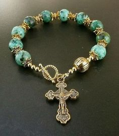 Genuine Green African Turquoise Antique Gold Plate Rosary Bracelet