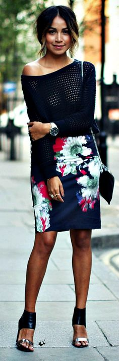 street style: floral pencil skirt, and mesh sweater, with heels | More outfits like this on the Stylekick app! Download at http://app.stylekick.com