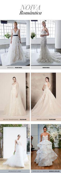 Layla Monteiro e inspiração de vestidos de noiva. Vestidos de noiva românticos, bordados com pedrarias e flores, saia de tule, babados, decote nas costas e decote tomara que caia.