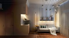 освещение в интерьере квартиры 15 кв. м.