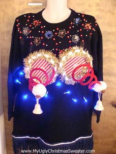 Some of these ugly sweaters are intended to be risqué, and others perhaps unintentionally naughty. Here's are 16 great examples of the new trend in Ugly Christmas Sweaters, the ugly, naughty and wrong Diy Ugly Christmas Sweater, Ugly Xmas Sweater, Xmas Sweaters, Tacky Christmas Party, Christmas Outfits, Christmas Ideas, Xmas Party, Christmas Decor, Christmas Gifts
