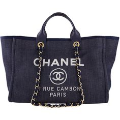 Pre-Owned Chanel Dark Blue Deauville GM Denim Two-Way Beach Tote Bag (€3.055) ❤ liked on Polyvore featuring bags, handbags, tote bags, purses, bolsas, chanel, blue denim, woven tote, hand bags and chanel handbags