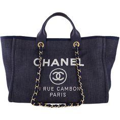 15e764f8c98c Pre-Owned Chanel Dark Blue Deauville GM Denim Two-Way Beach Tote Bag found
