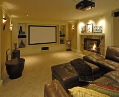 media built in design with theatre screen - Google Search