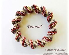 Beading pattern Cellini Spiral bracelet tutorial por PeyoteBeadArt