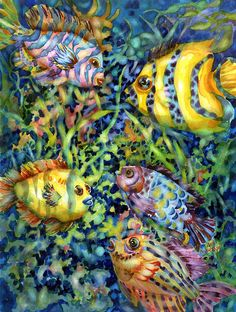 Fish Tales Watercolor print by ann nicholson  buy her prints at fineartamerica.com