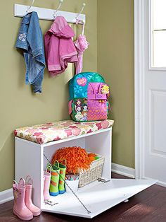 cabinet turned bench! OMG this is perfect for my little hallway.
