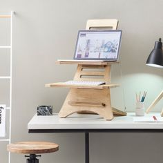 Standing Desk - Light Walnut - by HumbleWorks designed in Great Britain #MONOQI