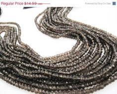 SALE Smokey Quartz Beads Luxe AAA 3.5mm Faceted by loveofjewelry, $12.74