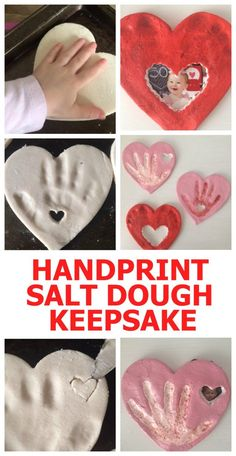 This is such a cute gift idea for grandparents! This hand print craft is perfect for Valentine's Day. You can easily make it with salt dough (the recipe is in the article). I love this fun DIY gift idea! Salt dough ornaments | salt dough recipe | keepsake | baby handprint ideas | grandparents gifts | father's day gifts