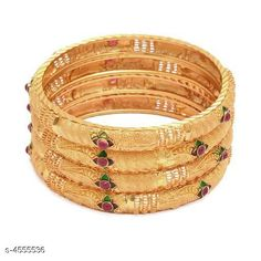 Bangles & Bracelets Allure Fusion Bangles Base Metal: Brass Plating: Gold Plated Stone Type: Artificial Stones Sizing: Non-Adjustable Type: Bangle Set Multipack: 4 Sizes: Country of Origin: India Sizes Available: 2.4, 2.6, 2.8, 2.10   Catalog Rating: ★4 (476)  Catalog Name: Allure Fusion Bangles CatalogID_659489 C77-SC1094 Code: 042-4555536-435
