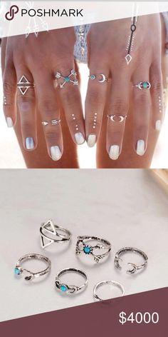 ‼️ COMING SOON ‼️ New, 6 pcs Boho Vintage Ring Set Boho 6 Piece Beautiful Turquoise and Silver Ring Set. 😍 Boho Gal Jewelry Rings