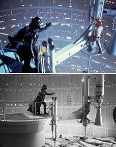 escenas del cine antes y después de los efectos especiales La guerra de las galaxias
