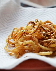 Oh joy! Delicious Homemade Onion Straws - Top burgers or serve as a side.