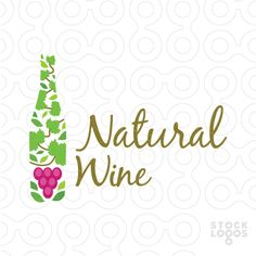 Unique design logo of a wine bottle in abstract style, it is like the wine bottle is made up of leaves and the stems and some grapes, simple and attractive design with green, brown and fuchsia colors.