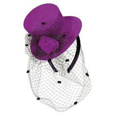 Purple Felt Top Hat Fascinator Headband With Netting . Fascinator Headband, Headpiece, Fascinators, Cocktail Hat, Stylish Hair, Feather, Winter Hats, Hair Accessories, Felt