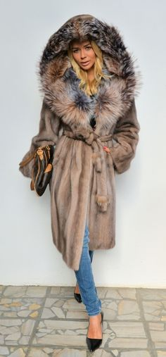 mink furs - saga mink fur coat with silver fox hood