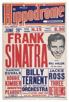 Frank Sinatra Birmingham Hippodrome Poster 1953. Poster design. Sutton Graphics design short list.