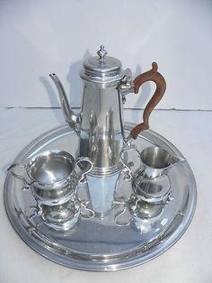 Stieff Colonial Williamsburg Restoration Pewter Coffee Tea Creamer Sugar Set
