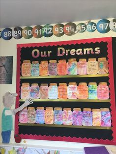 BFG Dream Jar display … This could be a great spell idea if you made ongoing spell jars for dreams that you added to as time went on, like a sweetening jar but a dream jar. Year 4 Classroom, Future Classroom, Classroom Activities, Bfg Activities, Roald Dahl Activities, English Activities, Bfg Dream Jars, Reading Display, Bfg Display