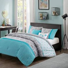 teal and lime green bedspread - Google Search