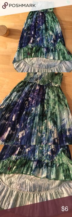 Sparkle sequin high lo dress Blue and green shades tube dress Dresses
