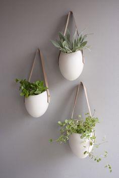 Spora : Set of 3 Ceramic + Leather Planters
