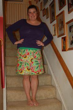 "Modkid Madeline skirt in Amy Butler ""Lark"" prints - completed 11/7/11"