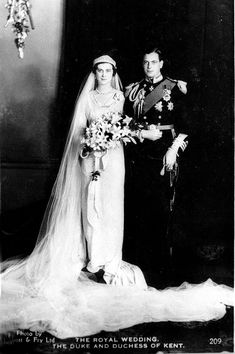 1934: A ROYAL WEDDING Prince George, Duke of Kent (son of George V and Queen Mary) marries Princess Marina.