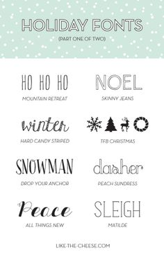 Holiday Fonts (Free!) | like-the-cheese.com