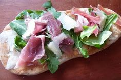 5 minute dinner:  Flatbread Pizza with Arugula & Prosciutto