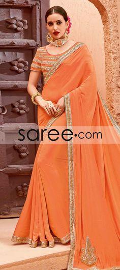 ORANGE CHIFFON CREPE SAREE WITH LACE WORK  #Saree #GeorgetteSarees #IndianSaree #Sarees  #SilkSarees #PartywearSarees #RegularwearSarees #officeWearSarees #WeddingSarees #BuyOnline #OnlieSarees #NetSarees #ChiffonSarees #DesignerSarees #SareeFashion
